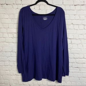 Lane Bryant Long Sleeve Tee V-Neck Purple Sz 22/24